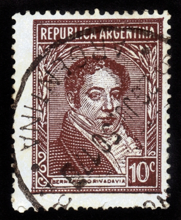 ARGENTINA - CIRCA 1939  a stamp printed in the Argentina shows Bernardino Rivadavia, The First President of Argentina, circa 1939