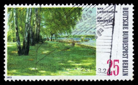 GERMANY - CIRCA 1972  A stamp printed in the Germany shows pastoral landscape, painting by Max Liebermann, circa 1972 Stock Photo - 16585889