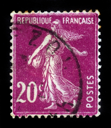 FRANCE - CIRCA 1906  A stamp printed in France shows marianne sowing, symbolizes France , circa 1906 Stock Photo - 16585883