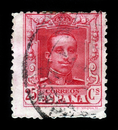 SPAIN - CIRCA 1920  A stamp printed in Spain shows King Alfonso XIII series, circa 1920 Stock Photo - 16680135