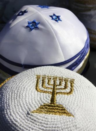 skullcap: menorah - a symbol of Hanukkah, embroidered with gold thread on Jewish religious cap