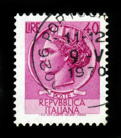 ITALY - CIRCA 1968  stamp printed by Italy, shows head of a woman, who symbolize Italy after Syracusean Coin, circa 1968 Stock Photo - 16878612