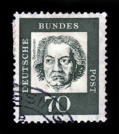 beethoven: GERMANY - CIRCA 1961  A stamp printed in Germany from the  Famous Germans  issue showing German composer and pianist Ludwig van Beethoven, circa 1961  Editorial