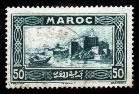 MOROCCO - CIRCA 1933  stamp printed by Morocco, shows Kasbah of the Udayas, Rabat, circa 1933 Stock Photo - 16878667
