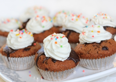 Chocolate cupcake decorated with colorful sweet beads and whipped cream Stock Photo - 16878632