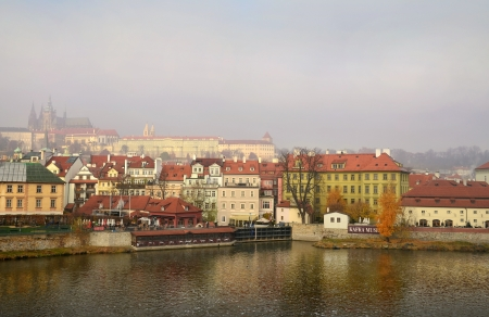 views of the splendid Prague in the early morning from the river Vltava Stock Photo - 16870316