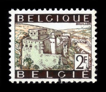 BELGIUM - CIRCA 1966: A stamp printed by Belgium, shows Bouillon castle and Semois river, Ardennes, circa 1966 Stock Photo - 16943117