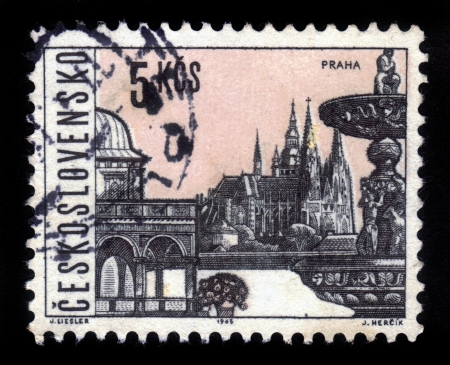 CZECHOSLOVAKIA - CIRCA 1963: A stamp printed in Czechoslovakia, shows famous places and sights of Prague, circa 1963 Stock Photo - 16944431
