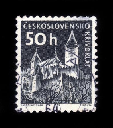 czechoslovakia: CZECHOSLOVAKIA - CIRCA 1965: A stamp printed in Czechoslovakia, shows Krivoklat castle, circa 1965 Editorial