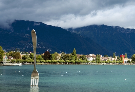 modern art , big fork in water of Geneva lake  Vevey, Switzerland Stock Photo - 16944467
