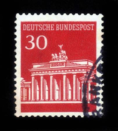GERMANY - CIRCA 1966  A stamp printed in Germany showing Brandenburg Gate, Berlin, circa 1966 Stock Photo - 16944403