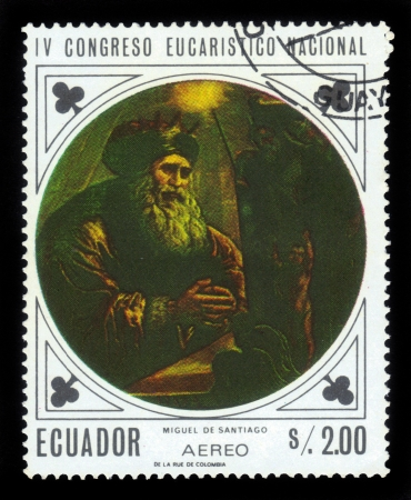 ECUADOR - CIRCA 1967  A stamp printed in Ecuador shows Portrait of Miguel de Santiago, ecuadorian artist , was the founder of the school of painting in the city of Quito , circa 1967 Stock Photo - 16943123