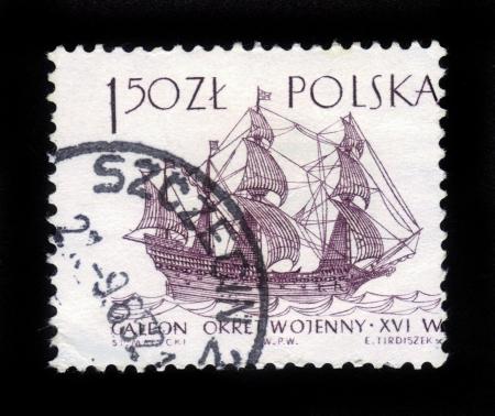 POLAND - CIRCA 1965  A post stamp printed in Poland shows sailing ship galeon,16th century, circa 1965 Stock Photo - 16944416