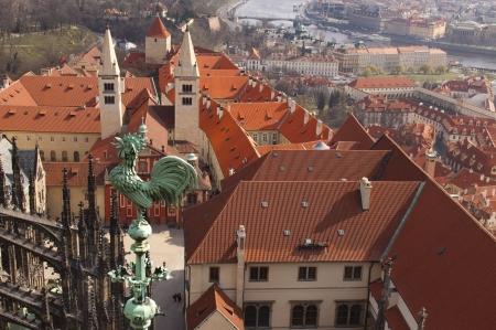 view of the old Prague with a height of the cathedral of St  Vitus, the Czech Republic Stock Photo - 16978104