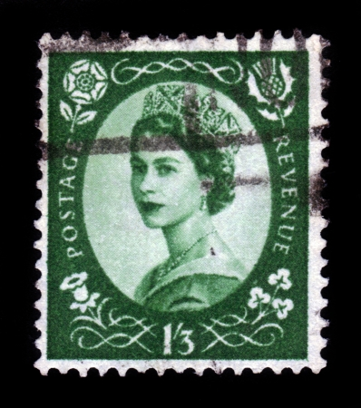 UNITED KINGDOM - CIRCA 1952  A postage stamp printed in United Kingdom shows a portrait of queen Elizabeth II, circa 1952  Stock Photo - 16978769