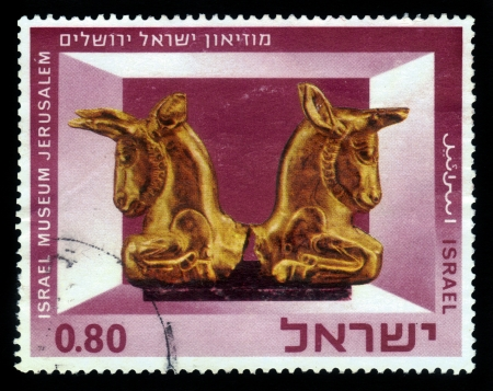 israel museum: ISRAEL - CIRCA 1966  A stamp printed in Israel, shows Exhibits of the Israel Museum, Jerusalem  Miniature Gold Capital , series, circa 1966 Stock Photo