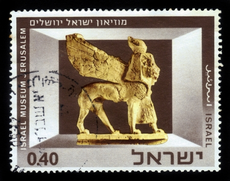 ISRAEL - CIRCA 1966  A stamp printed in Israel, shows Exhibits of the Israel Museum, Jerusalem  Phoenician Ivory Sphinx , series, circa 1966 Stock Photo - 16978439