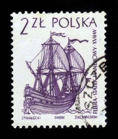 POLAND - CIRCA 1964  stamp printed by Poland, shows sailing ship - fleuta  fluit  , Dutch merchant ship, circa 1964 Stock Photo - 16978136