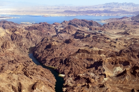 view from the helicopter to the great Colorado River and lake Mead , Nevada, United States Stock Photo - 16978183
