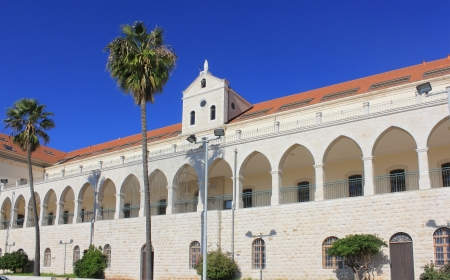 Christian School and Salesian Church , one of the largest and most beautiful churches in Nazareth, Israel Stock Photo - 16978150
