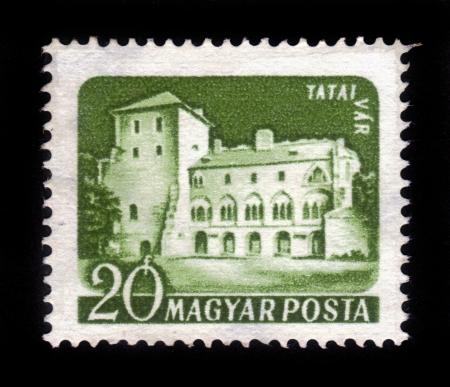 HUNGARY - CIRCA 1960: A stamp printed in the Hungary shows Tata Castle ( Tatai var ), series Castles, circa 1960 Stock Photo - 16978128