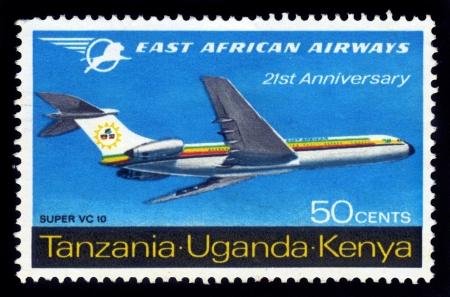 KENYA, UGANDA ,TANZANIA - CIRCA 1962  British stamp valid in Kenya, Uganda and Tanzania , shows airliner of east african airways super vc-10, circa 1962 Stock Photo - 17019589