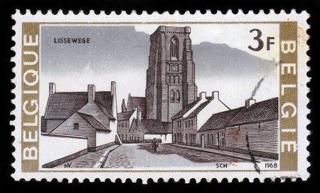 BELGIUM - CIRCA 1968  A stamp printed by Belgium, shows church in the small village of Lissewege, Belgium, circa 1968 Stock Photo - 17019607
