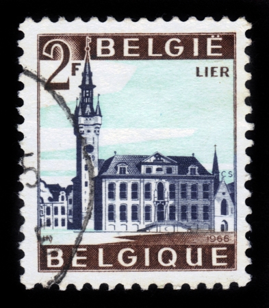 BELGIUM - CIRCA 1966  A stamp printed by Belgium, shows City Hall of Lier, circa 1966 Stock Photo - 17019586