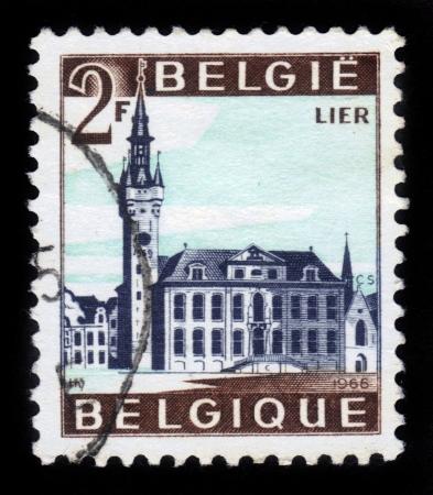 BELGIUM - CIRCA 1966  A stamp printed by Belgium, shows City Hall of Lier, circa 1966 Stock Photo - 17019586