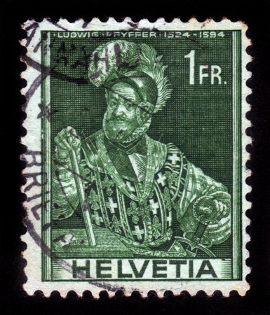SWITZERLAND - CIRCA 1944  A stamp printed in Switzerland shows image of Ludwig Pfyffer  1524-1594 , the Swiss military leader,chief magistrate of Lucerne, circa 1944 Stock Photo - 17019588