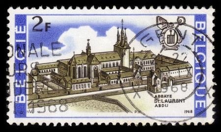 BELGIUM - CIRCA 1968: A stamp printed by Belgium, shows St. Laurent Abbey, Belgium, circa 1968 Stock Photo - 17019596