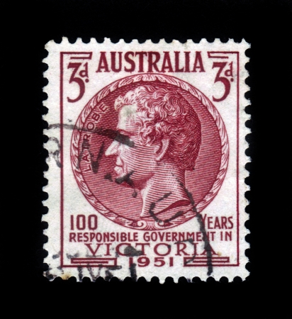 AUSTRALIA - CIRCA 1951  A stamp printed in Australia, shows Charles Joseph La Trobe,  was the first lieutenant-governor of the colony of Victoria, circa 1951 Stock Photo - 17112962