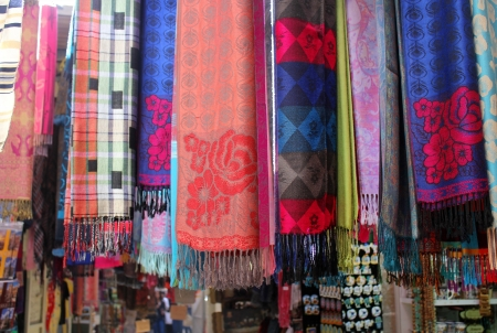 Colorful scarves at arabian market in Nazareth , Israel Stock Photo - 17113143