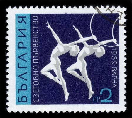 BULGARIA - CIRCA 1969  a stamp printed by BULGARIA shows gymnastics, devoted to the World Championships in Varna , series, circa 1969 Stock Photo - 17113144