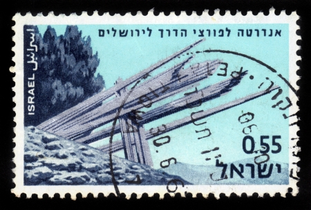 ISRAEL - CIRCA 1967  stamp printed in Israel, shows monument dedicated to the memory of those who broke through to Jerusalem, Memorial Day for the Fallen of Israel s Defence Army , circa 1967 Stock Photo - 17113139