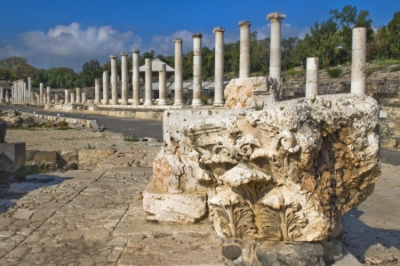 Antique street and part of the column in archaeological site ,  Beit Shean , Israel Stock Photo - 17113104