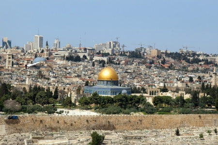 Jerusalem - the holy city for Muslims, for Christians, for Jews  view of the golden dome of Al Aqsa Mosque and old cemetery near the walls of Old Jerusalem Stock Photo - 17181694