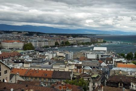 beautiful view of the city of Geneva and the lake Geneva, Switzerland Stock Photo