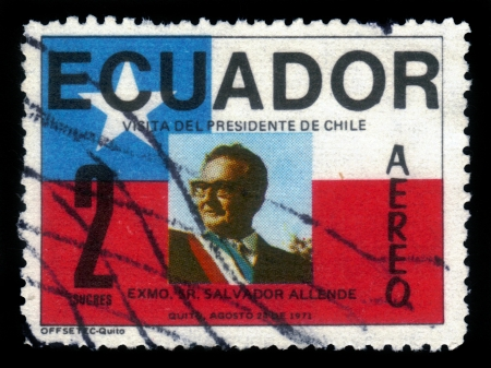 salvador allende: ECUADOR - CIRCA 1971: A stamp printed in Ecuador shows image of a president of Chile dr. Salvador Allende, devoted to his visit to Ecuador, circa 1971 Editorial
