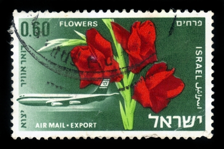 exported: ISRAEL - CIRCA 1968: A stamp printed in Israel, shows red gladiolus on the background of the transport plane El-Al , series Israel products exported by air, circa 1968 Stock Photo