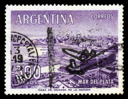 ARGENTINA - CIRCA 1963: a stamp printed in the Argentina shows  town Mar del Plata near Atlantic ocean, circa 1963 Stock Photo - 17175922