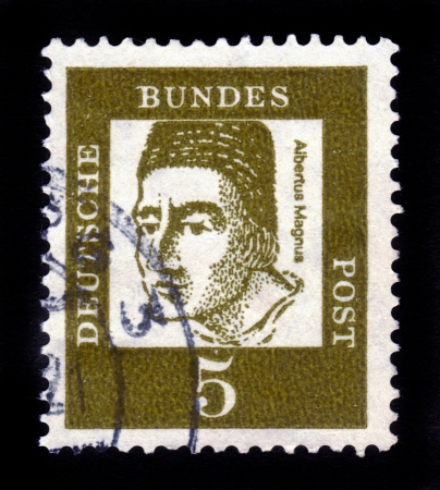 bundespost: GERMANY - CIRCA 1961  a stamp printed in the Germany shows Catholic saint Albertus Magnus, Dominican Friar and Bishop, Philosopher and Theologian, circa 1961