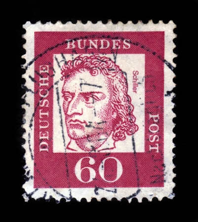 GERMANY - CIRCA 1961  a stamp printed in the Germany shows Johann Christoph Friedrich von Schiller, poet and writer, philosopher and playwright , circa 1961 Stock Photo - 17202150