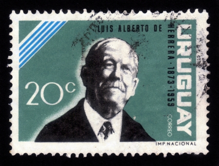 URUGUAY - CIRCA 1964  A stamp printed in Uruguay, shows portrait of Luis Alberto de Herrera  1873-1959  a Uruguayan lawyer, diplomat, journalist and politician, circa 1964 Stock Photo - 17202155