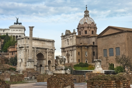ancient ruins of the Roman Forum, washed  by rain, Rome, Italy photo