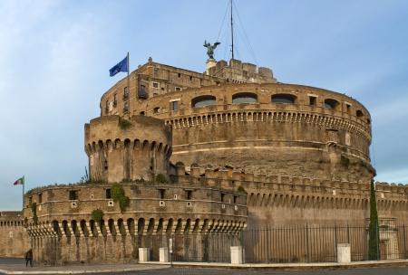 angelo: Facade of the Sant Angelo Castle   Mausoleum of Hadrian   in Rome, Italia  Editorial