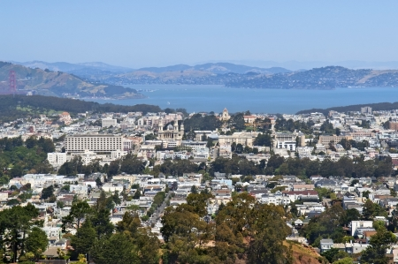 view of the city Sausalito and the Bay of San Francisco in Marin County, California, United States Stock Photo