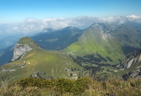 scenic landscape in the Swiss Alps in the early autumn Stock Photo - 17239091