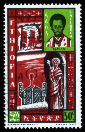 amharic: ETHIOPIA - CIRCA 1962 : A stamp printed in Ethiopia shows image Gebre Mesqel Lalibela king of Ethiopia and church of Saint George, one of many churches hewn into the rocky hills of Lalibela , circa 1962