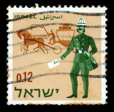 Israel - CIRCA 1966: a stamp printed by Israel shows postmen - past and present -  austrian postmen and mail coach, circa, 1966 Stock Photo - 17326954